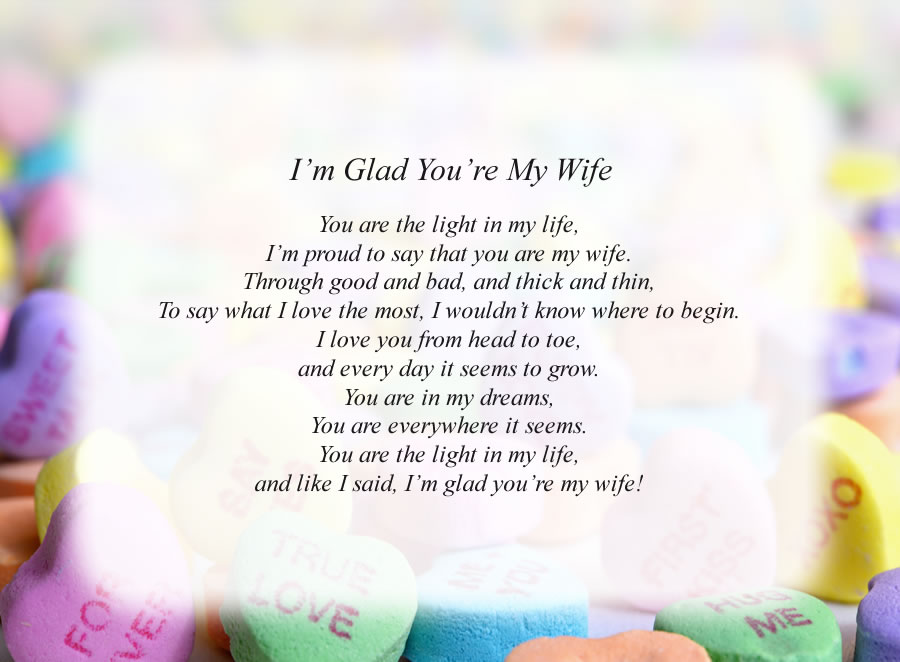 I'm Glad You're My Wife poem with the Candy Hearts background