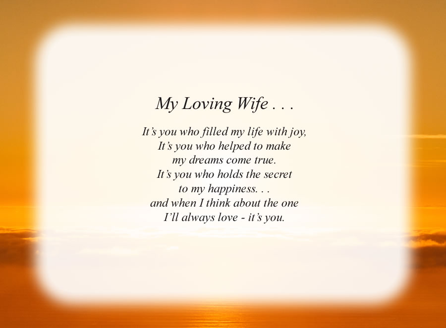 My Loving Wife . . .(2) poem with the Sunrise background