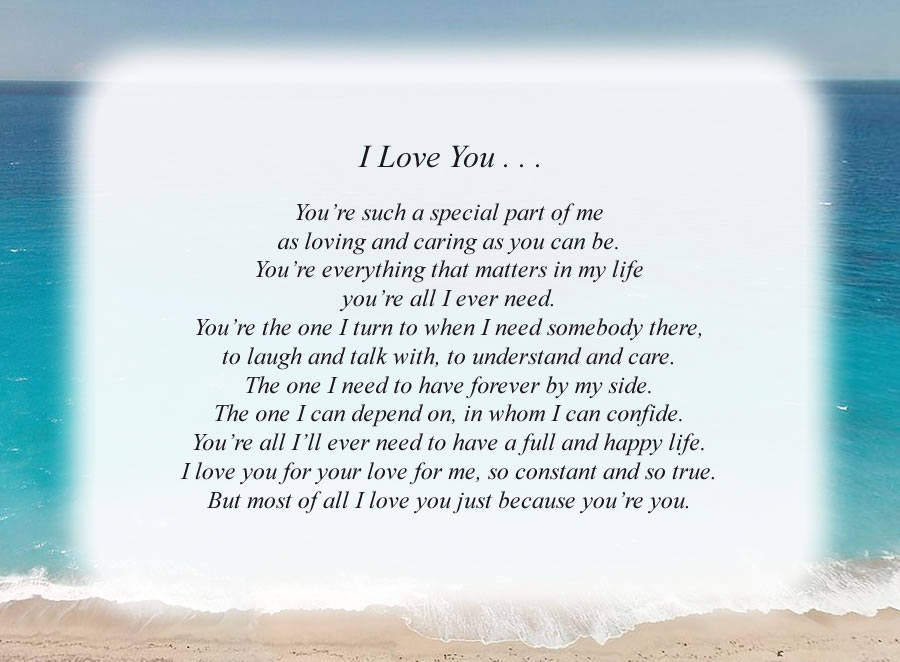 I Love You poem with the Beach background