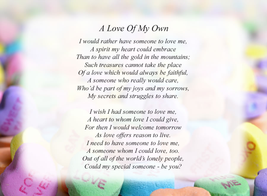 A Love Of My Own poem with the Candy Hearts background