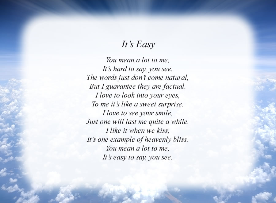 It's Easy poem with the Clouds and Rays background