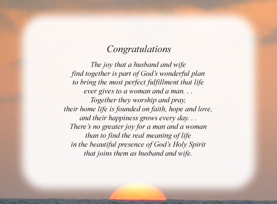 Congratulations poem with the Sunset background
