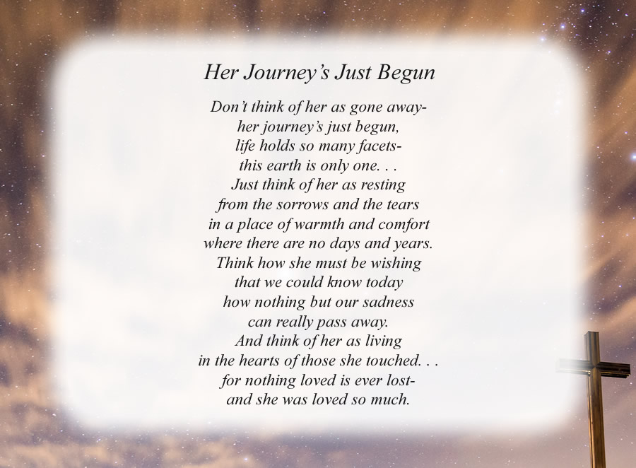 Her Journey's Just Begun poem with the Cross and Night Sky background