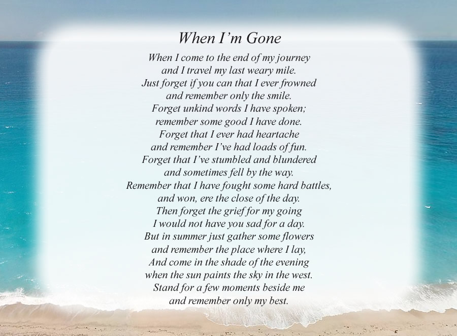 When I'm Gone poem with the Beach background