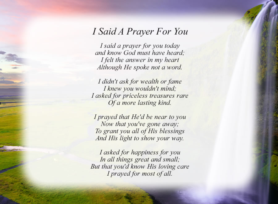 photograph regarding I Said a Prayer for You Today Printable identified as I Reported A Prayer For On your own - No cost Inside of Loving Memory Poems