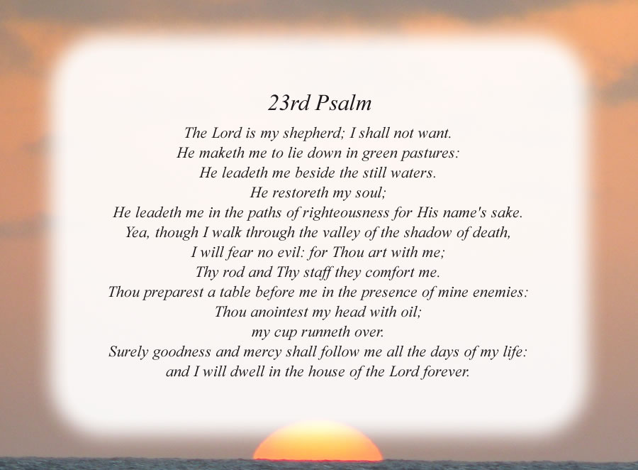 23rd Psalm poem with the Sunset background