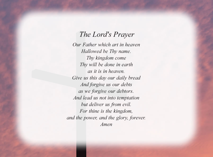 The Lord's Prayer poem with the Cross and Red Sky background