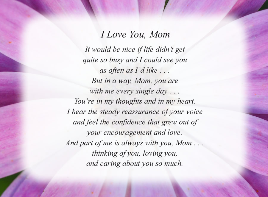 I Love You, Mom poem with the Purple Flower background