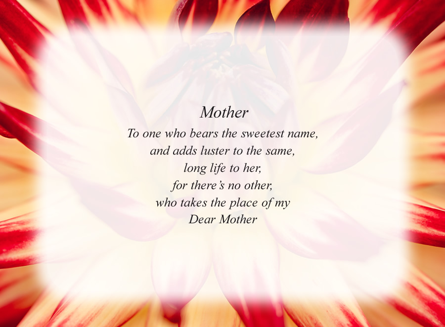 Mother(3) poem with the Red and White Flower background