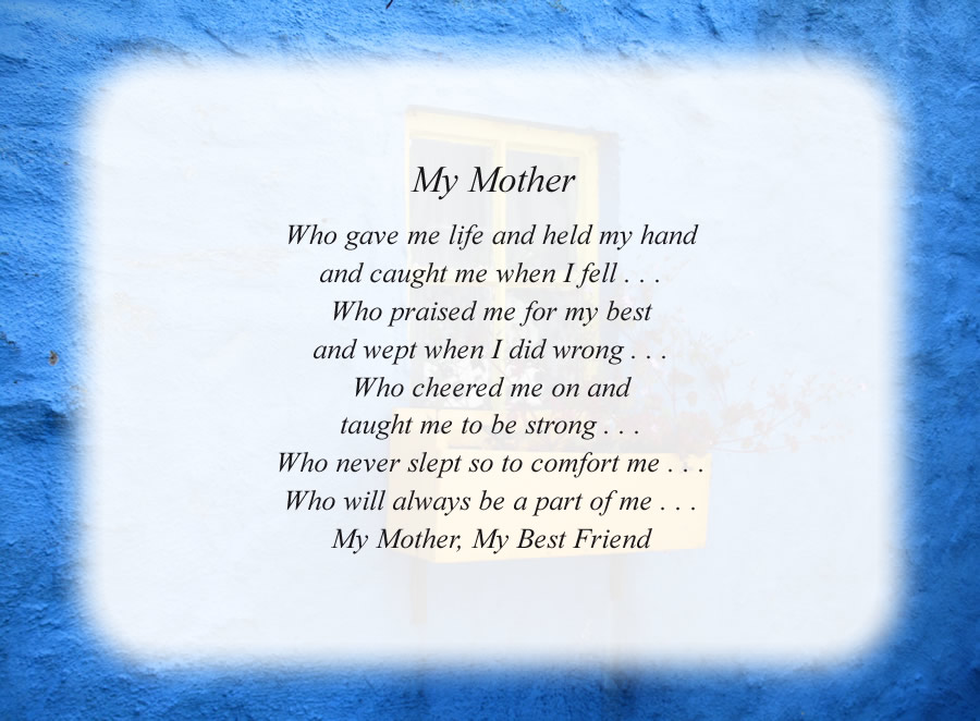 My Mother poem with the Blue Wall background