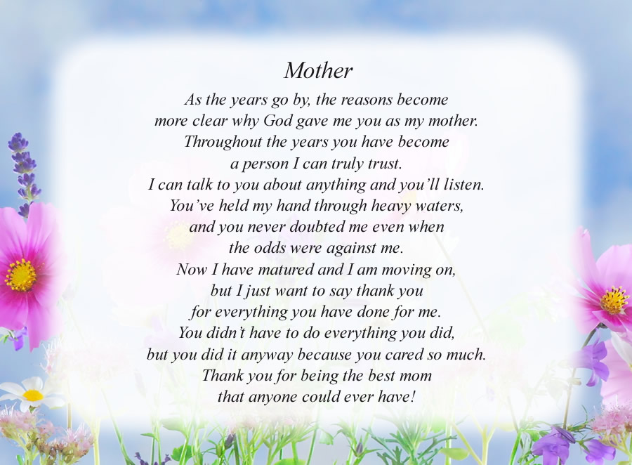Mother(4) poem with the Flowers and Sky background