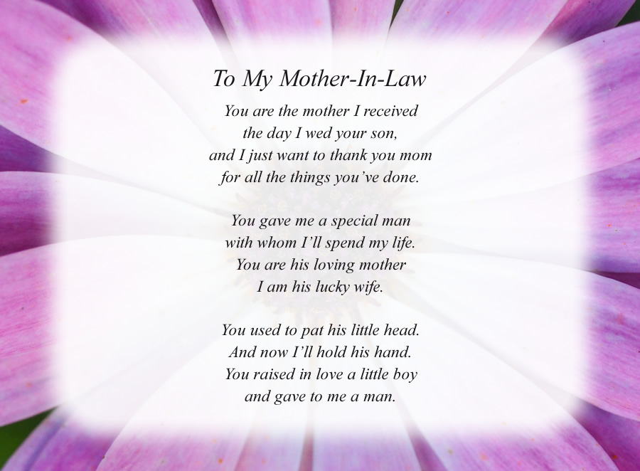 To My Mother-In-Law poem with the Purple Flower background