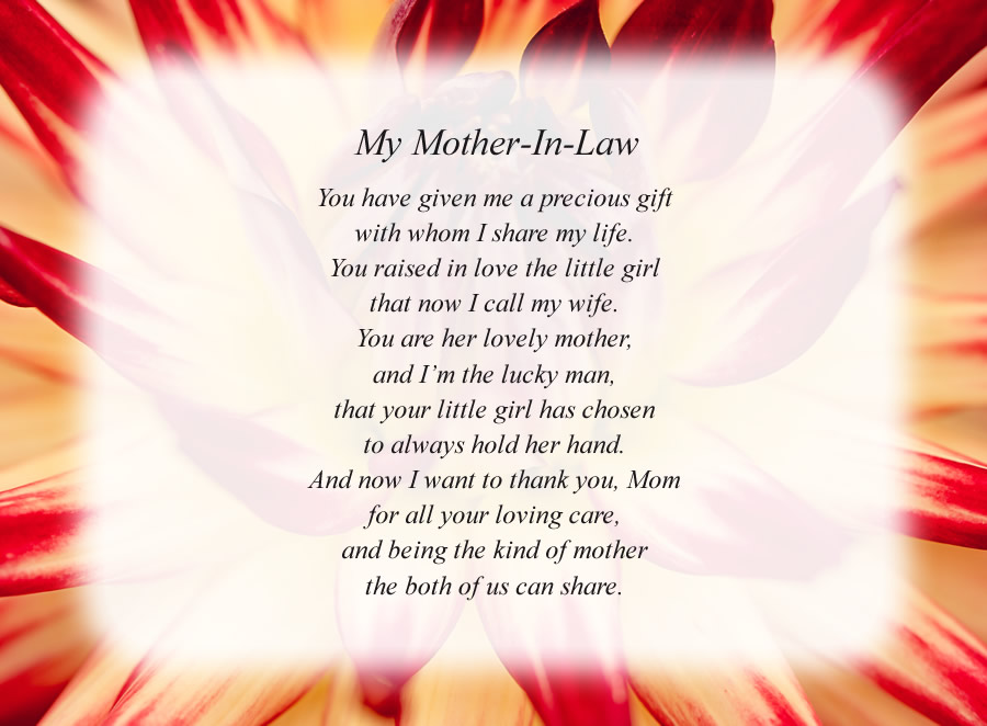 My Mother-In-Law poem with the Red and White Flower background
