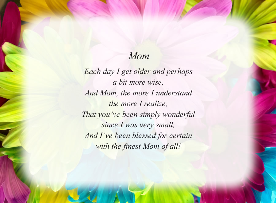 Mom(3) poem with the Flowers background