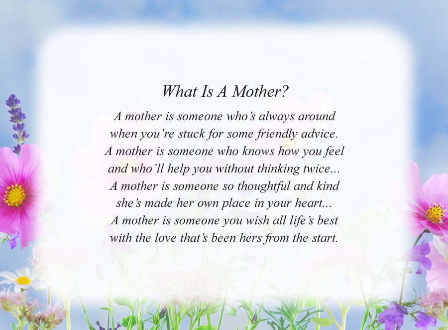What Is A Mother? poem with the Flowers and Sky background