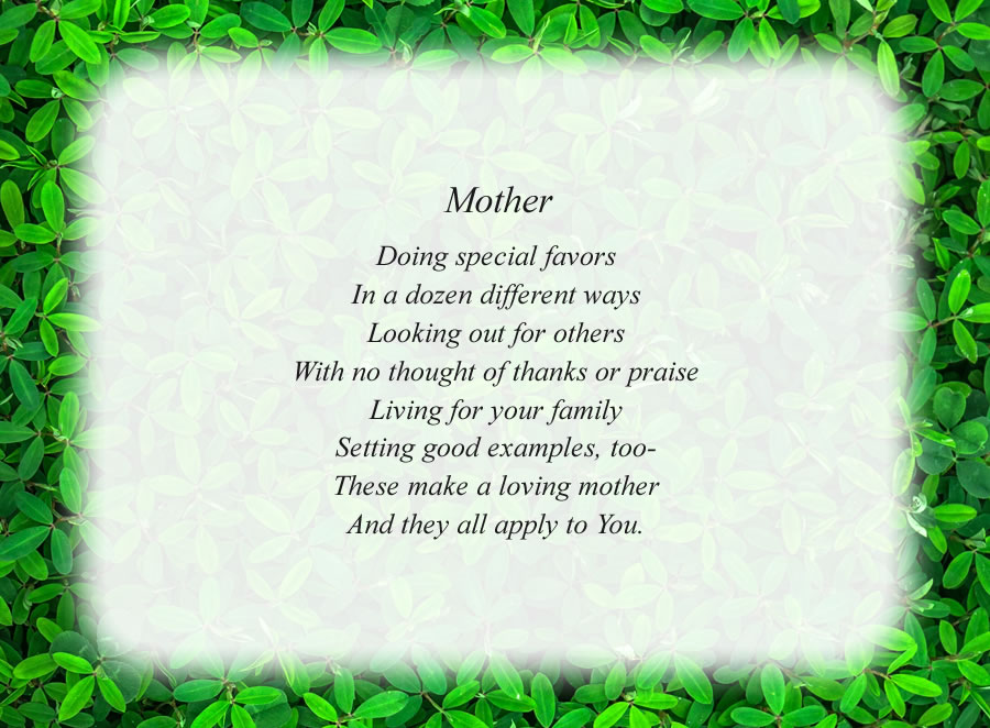 Mother poem with the Green Leaves background