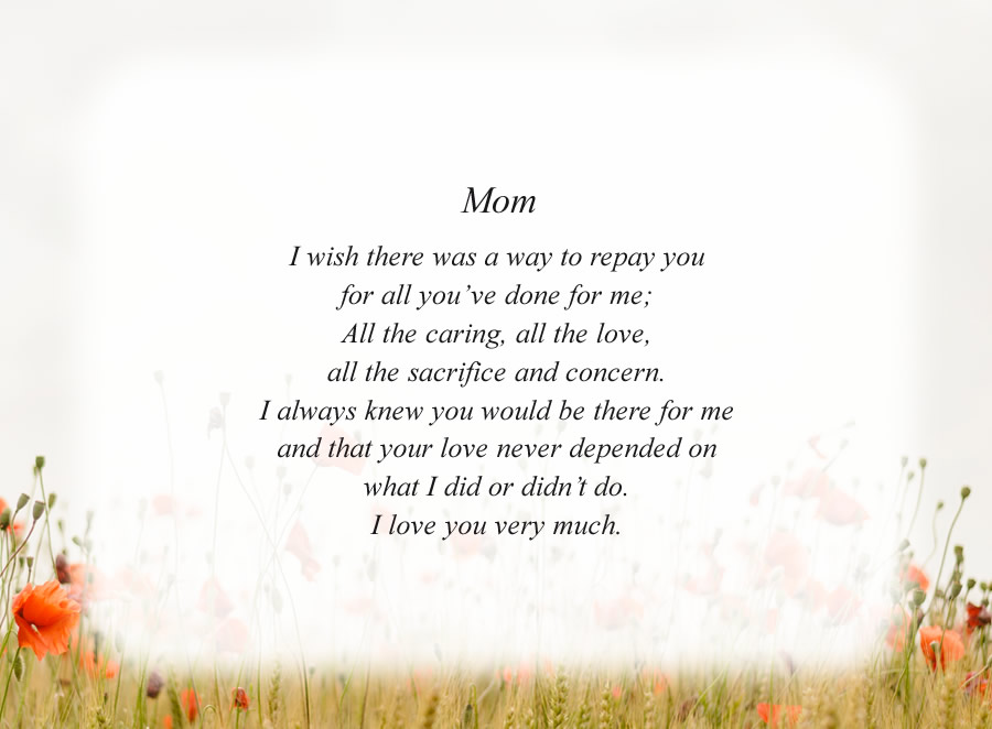Mom(4) poem with the Morning Flowers background