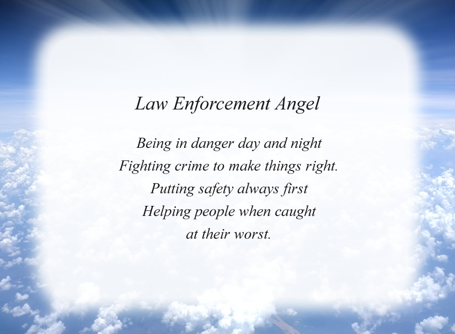 Law Enforcement Angel poem with the Clouds and Rays background