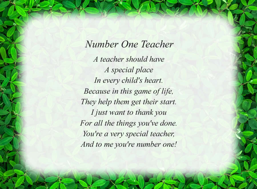 Number One Teacher poem with the Green Leaves background