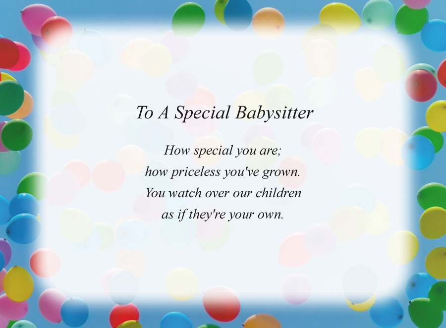 To A Special Babysitter poem with the Balloons background