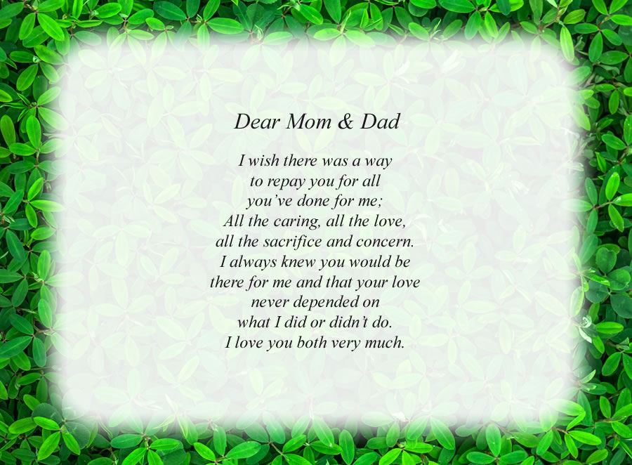 Dear Mom & Dad poem with the Green Leaves background
