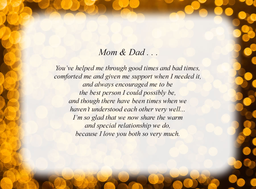 Mom & Dad . . . poem with the Lights background