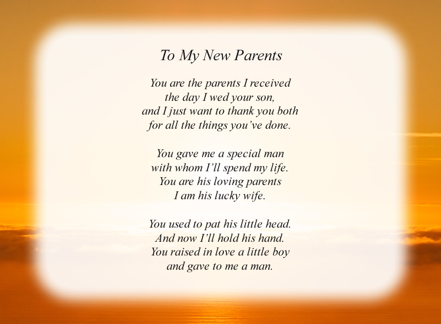 To My New Parents poem with the Sunrise background