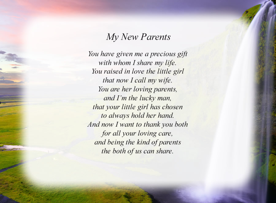 My New Parents poem with the Waterfall background