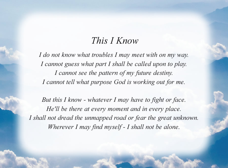 This I Know poem with the Mountain Clouds background