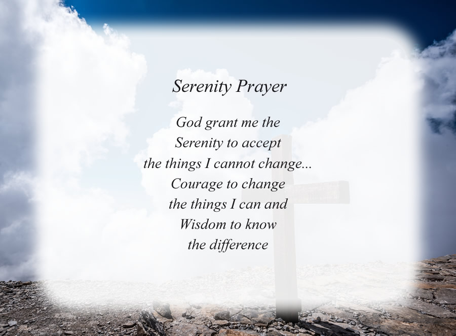 Serenity Prayer poem with the Cross and Clouds background