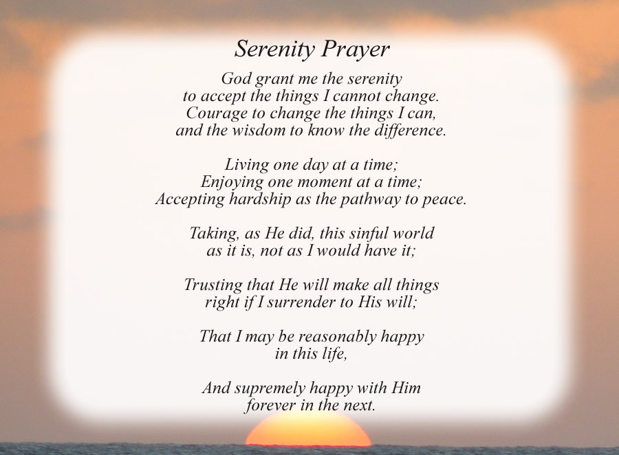 Serenity Prayer poem with the Sunset background