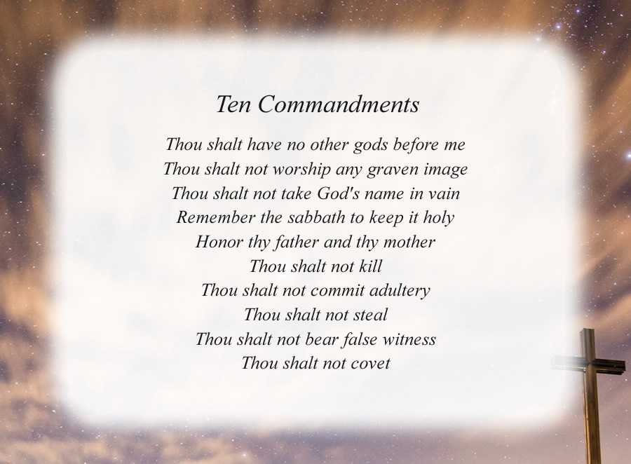 Ten Commandments with the Cross and Night Sky background