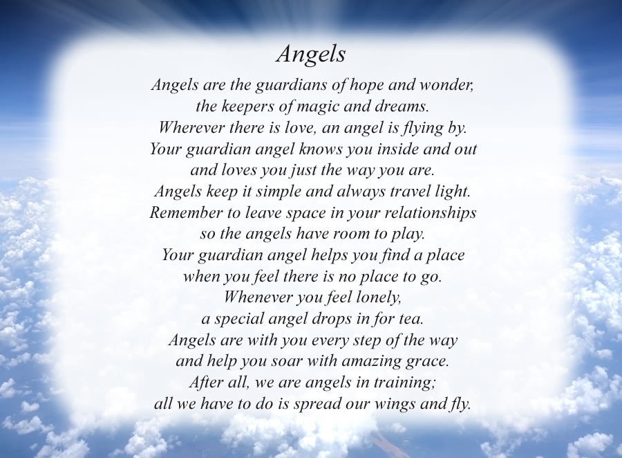 Angels poem with the Clouds and Rays background