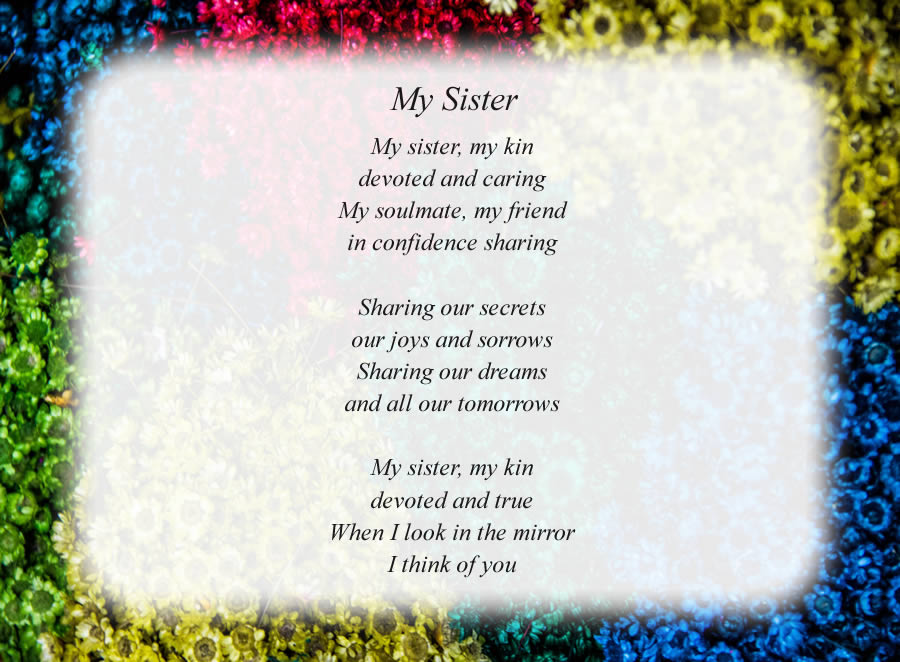 my sister free sister poems