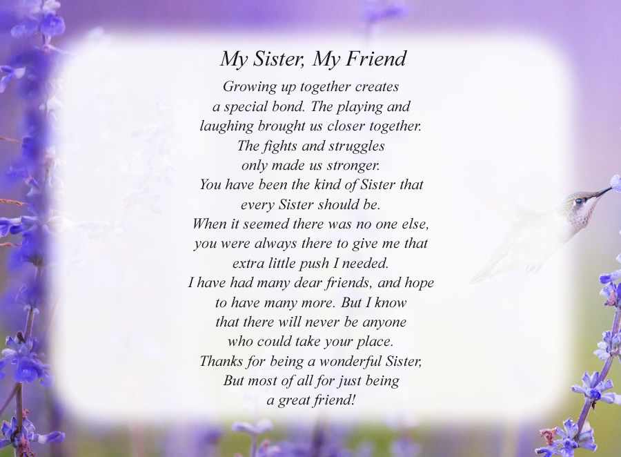 My Sister, My Friend poem with the Hummingbird background