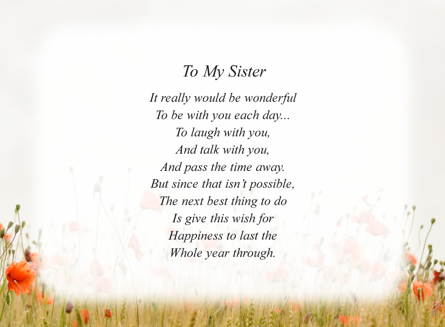 To My Sister poem with the Morning Flowers background
