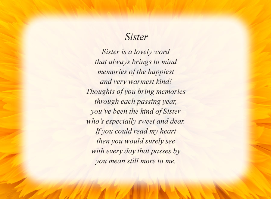 Sister poem with the Yellow Flower background
