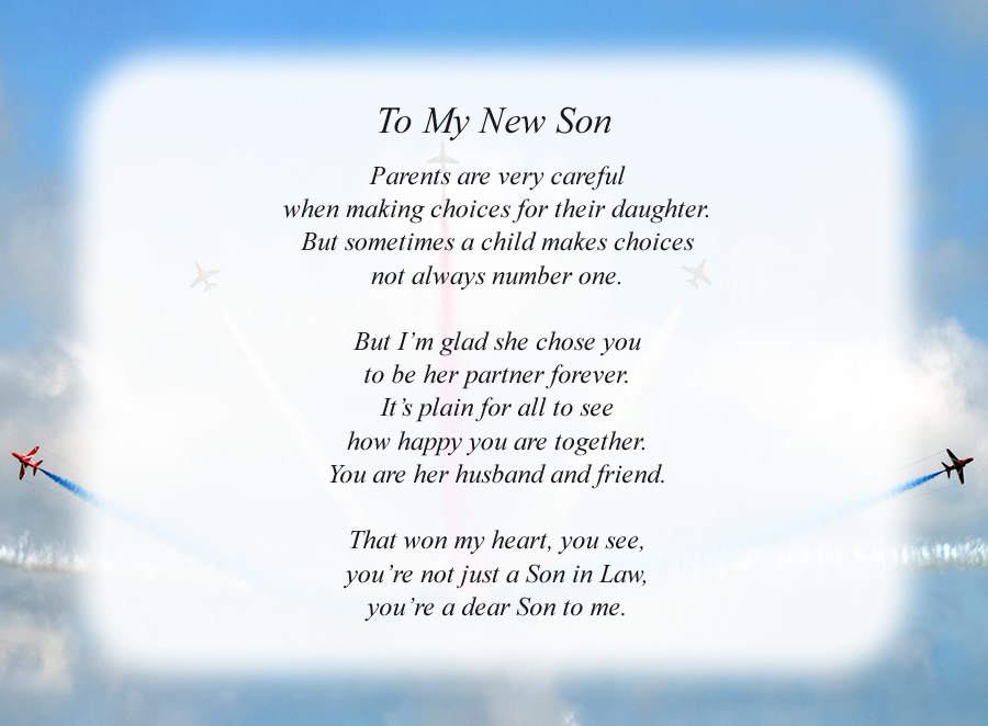 To My New Son poem with the Planes background