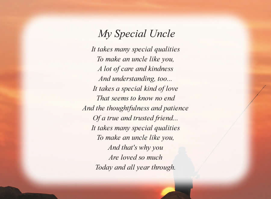 My Special Uncle poem with the Fisherman background